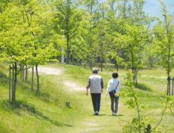 二人で歩く写真